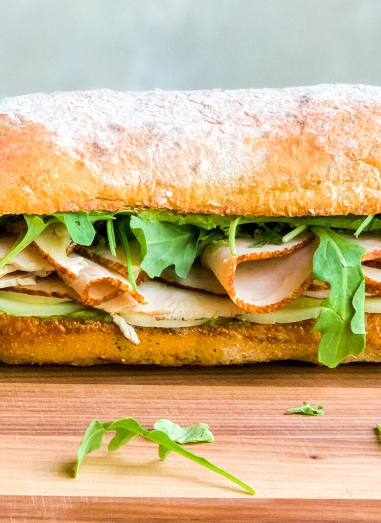 Turkey & Provolone Sandwich with Avocado Pesto